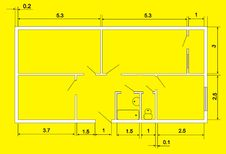 House Plan On Yellow Stock Photography
