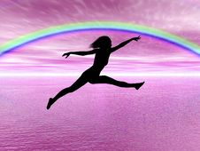 Free Jumping Woman In The Rainbow Stock Photo - 6911280
