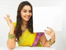 Woman With A Blank Placard Stock Photos