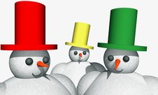 Free 3D Snowmen, Abstract Illustration Royalty Free Stock Image - 6911896