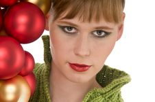 Free Close-up Of Young Woman With Christmas Balls Royalty Free Stock Photography - 6912187