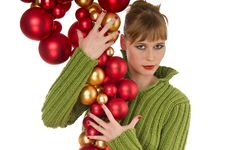 Fashion Woman Holding Bunch Of Christmas Balls Royalty Free Stock Photos