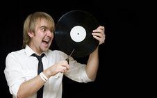 Free Young Man Cut Vinyl Record Stock Photos - 6913243