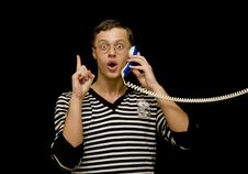 Free Young Man Talk On The Phone Over Black Stock Images - 6913344