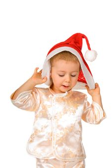 Baby Wearing Santa Claus Hat Royalty Free Stock Photos