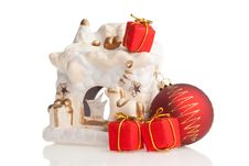 Free Ceramic Fireplace, Red Ball And Present Boxes Stock Photography - 6913742