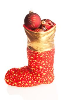 Christmas Boot With Red Balls Inside Royalty Free Stock Photos