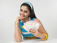 Female Of With Currency Notes Stock Photos