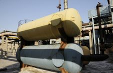 Chemical Factory With Oil Tanks Stock Images