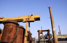 Chemical Factory With Crane And Oil Tanks Stock Image