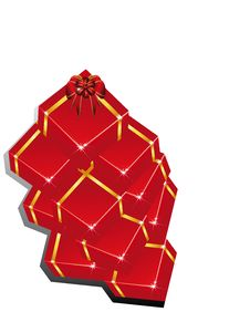 Pile Festive Boxes Royalty Free Stock Photography