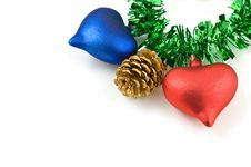Christmas Cone And Hearts Ornament. Royalty Free Stock Photo