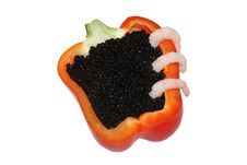 Free Black Caviar  With Red Bell Pepper Royalty Free Stock Photo - 6916325