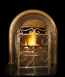 Free Antique Fireplace Over Black Background Royalty Free Stock Photos - 6916478