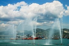 Fountains In A Sea Bay. Royalty Free Stock Image