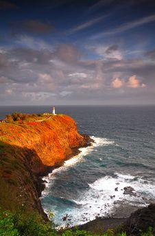 Lighthouse At Kilauea Bay Royalty Free Stock Image