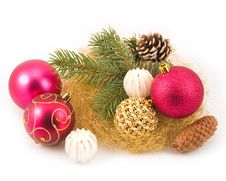 Free Gold Tinsel With New Year S Spheres Royalty Free Stock Image - 6919986