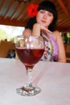 Free The Girl With A Wine Glass Stock Image - 6923191