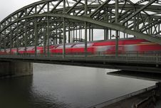 Rhine River And Railway Bridge