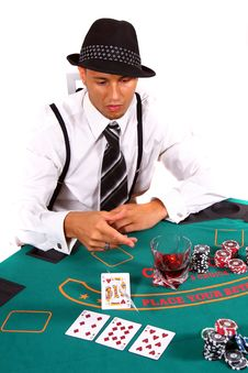 Free Young Poker Player Folding Stock Photos - 6923353