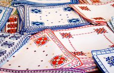 Free White Fabrics With Colorful Embroidery Stock Photos - 6923863