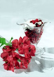 Red Berry With Cream And Flower Stock Photo