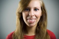 Free Girl Put Out Tongue. Royalty Free Stock Photo - 6924425