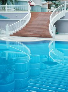 The Staircase By Swimming Pool Royalty Free Stock Photos