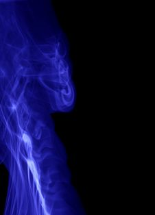 Blue Smoke Abstract On Black