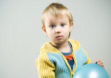 Little Boy With Blue Balloon. Royalty Free Stock Photos