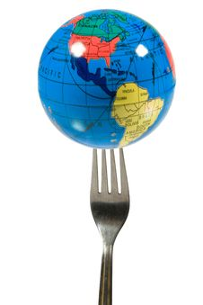 Free Small Globe On A Fork Royalty Free Stock Photos - 6925488