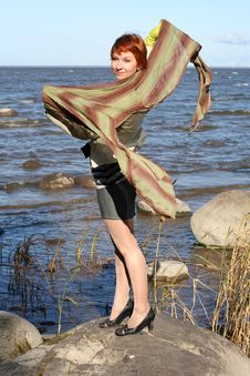 Free Red Haired Woman With Scarf Royalty Free Stock Photos - 6928698