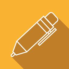 Flat Icon Of Pen Royalty Free Stock Photos