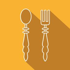 Free Flat Icon Of Spoon And Fork Royalty Free Stock Photography - 69243137
