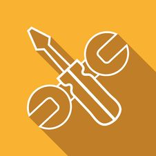 Flat Icon Of Screwdriver And Wrench Royalty Free Stock Photo