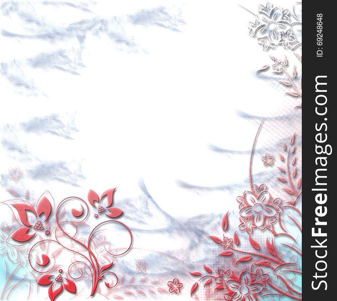 Greeting Card Or Wedding Invitationfloral Bannerframe