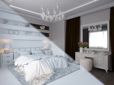 3d Render Of Bedroom Interior Design In A Modern Classic Style.