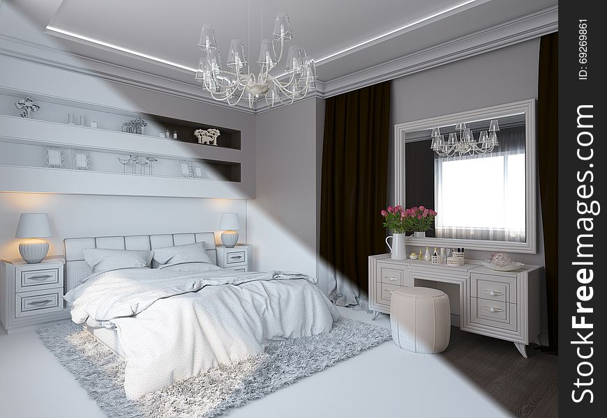 3d Render Of Bedroom Interior Design In A Modern Classic Style Free Stock Images Photos 69269861 Stockfreeimages Com