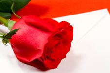 Red Rose And Envelope Stock Photos