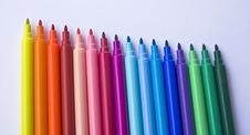 Colored Markers In Line Royalty Free Stock Images