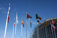 Modern Building And Flags Stock Image