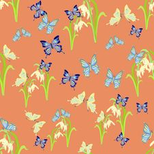 Free Cute Snowdrops And Butterflies Seamless Vector Pattern Stock Photos - 69322203
