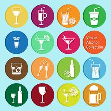 Vector Collection: Alcohol Icons Stock Photography