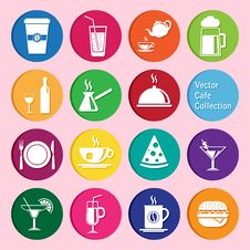 Free Vector Collection: Cafe And Restaurant Icons Royalty Free Stock Photo - 69421675