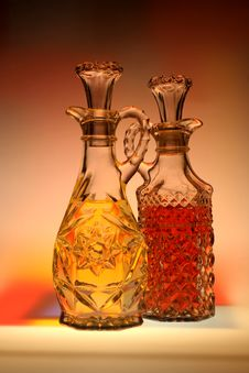 Oil & Vinegar With Abstract Background Stock Photography