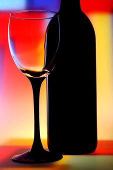 Free Wine Bottle & Glass Abstract Stock Photography - 6967742