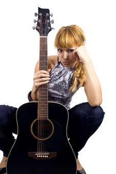 Free Sad Girl With Guitar Royalty Free Stock Photos - 6981308