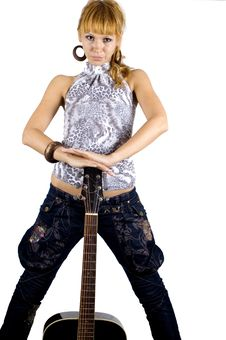 Free Girl Standing With Guitar Stock Photos - 6981313