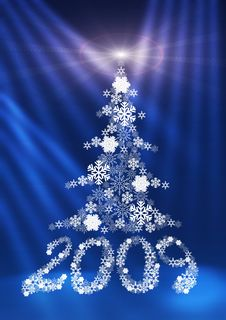 Figures 2009 And A Fur-tree Made Of Snowflakes. Royalty Free Stock Photography