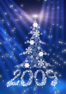 Figures 2009 And A Fur-tree Made Of Snowflakes. Stock Photography